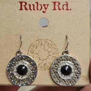Ruby Red Silver Earrings